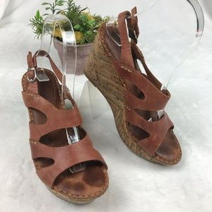 Born Wedge Cork Sandals Brown Leather Ankle Strap